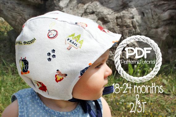 baby sun bonnet toddler, baby bonnet sewing pattern, baby boy bonnet, boy sun bonnet, brimless toddler bonnet