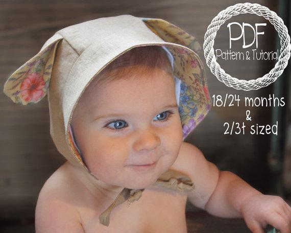 Baby Sun Bonnet Toddler, Baby Bonnet Sewing Pattern, Lamb Bonnet, toddler bonnet patterns