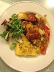 chicken saltimbocca with peperonata and rosemary polenta