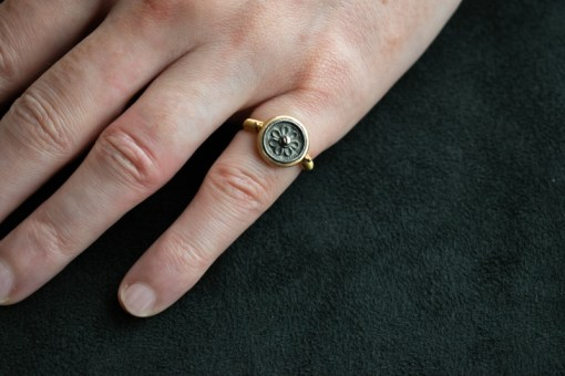 Silver button and 22ct gold pinkie ring