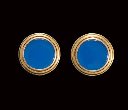 blue agate 22ct gold earrings