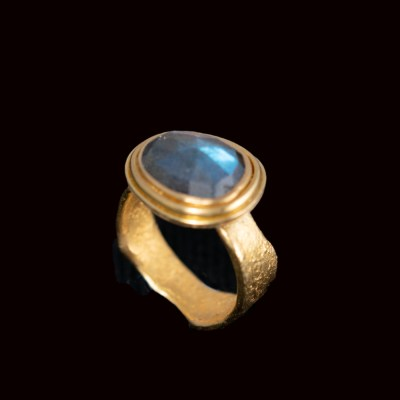 Rose cut labradorite ring