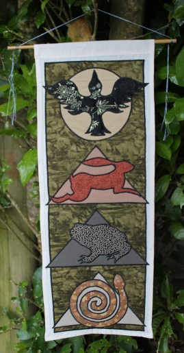 Animal Spirit Tapestry with Crow, Hare and Toad
