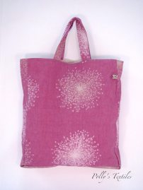 Plum square tote bag.