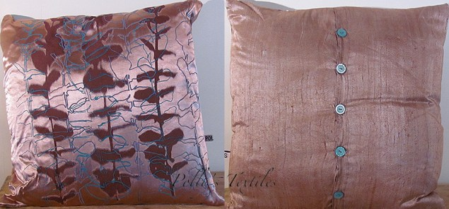 handmade Brown silk cushion