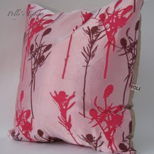 Hot pink silk cushion