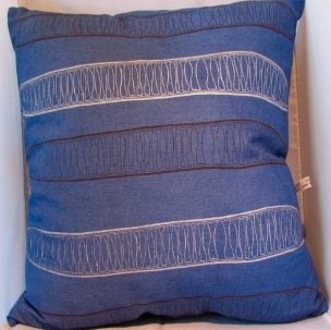 feather filled hand dyed linen and screen printed cushion