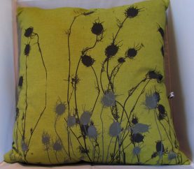 Linen Cushion hand dyed Olive and grey print
