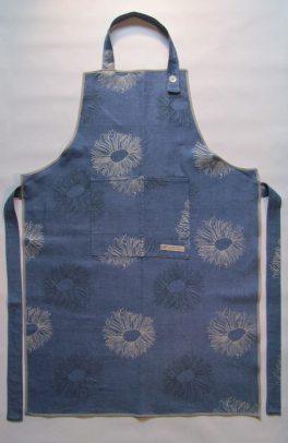 Blue linen apron