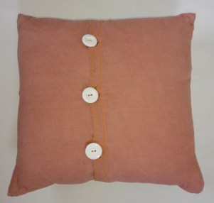 back view of buttons of lime Eucalptus cushion