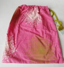 """cherry pink & olive shoe-bag/small laundry bag with olive green drawstring, £9, size : 11"""" x 14"""""""