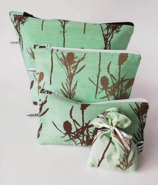green make-up bags