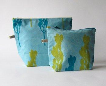 handmade turquoise makeup bag