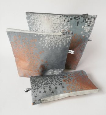 charcoal and bronze makeup bags