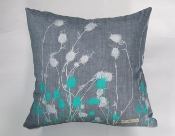 charcoal handmade linen cushion