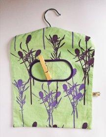green handmade peg bag
