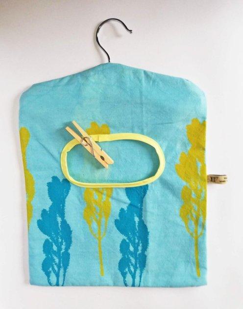 turquoise handmade peg bag