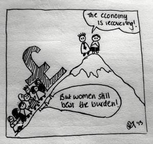 women & economic recovery cartoon