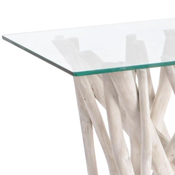 detalle cristal mesa consola lisa muebles polque