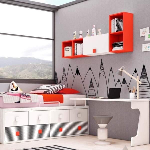 mesa estudio juvenil city rojo y blanco muebles polque