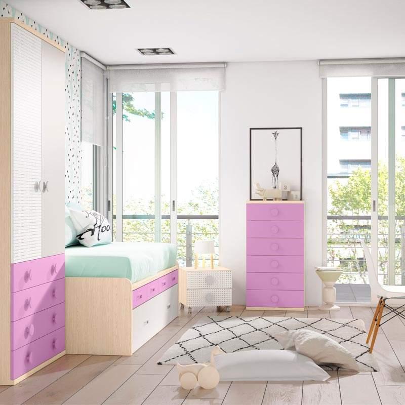 cama sifonier y armario juvenil convertible bobby rosa