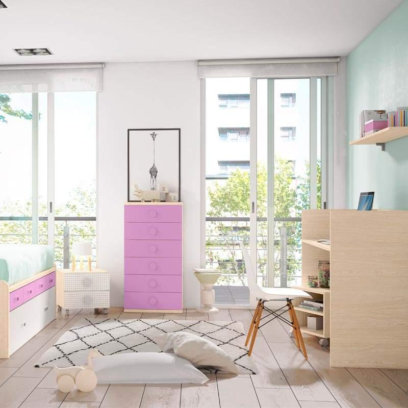cama sifonier y mesa de estudio juvenil convertible bobby rosa