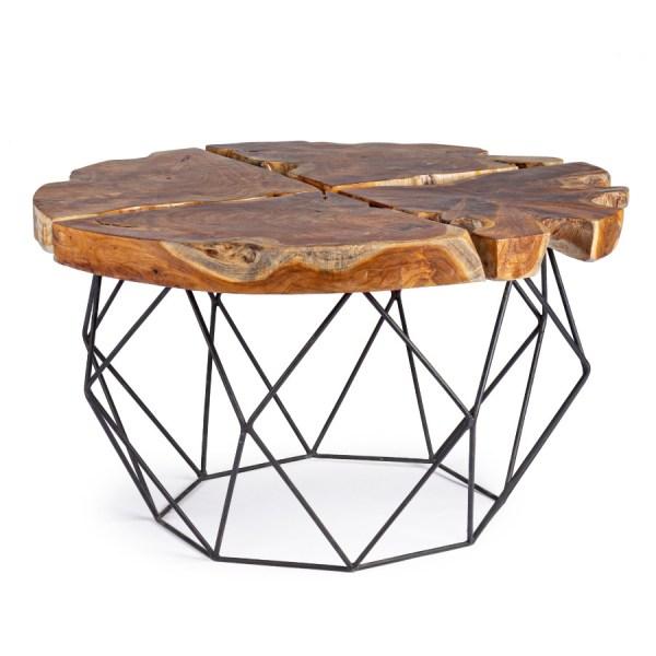 mesa de centro raíz y acero