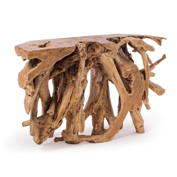 consola raíz de teca