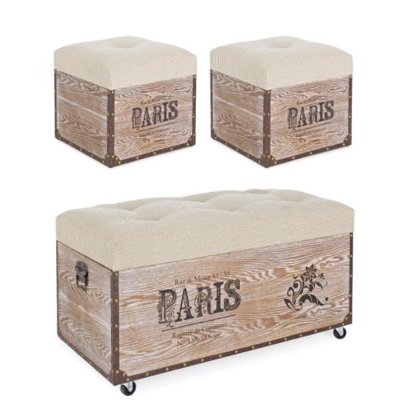 Set 3 Pouf baúles París