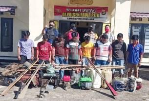 Polsek Rawa Pitu tangkap 8 pelaku setrum ikan di Kanal Sekunder, Kampung Panggung Mulyo