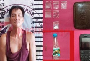 Seorang petani berinisial SA (35), yang ditangkap petugas Satresnarkoba Polres Tulang Bawang di warung pecel yang ada di Dusun Sri Rahayu, Kampung Gedung Bandar Rahayu
