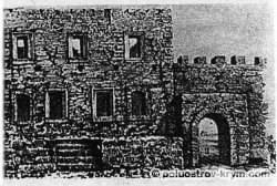 Мангуп. Цитадель в 1843. По рисунку Дюбуа де Монпере
