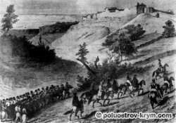 Так знатные путешественники выезжали на Чуфут-Кале (с гравюры Раффе, 1837 г.). Крым