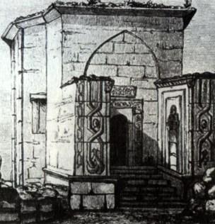 Дюрбе (мавзолей) Джанике-ханым до ремонта. Пещерный город Чуфут-Кале. Крым