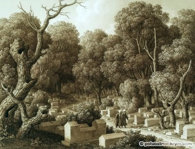 Карл фон Кюгельген. Караимское кладбище в Чуфут-Кале. 1824 год
