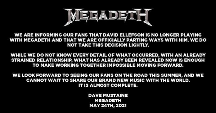 Megadeth y el despido de David Ellefson