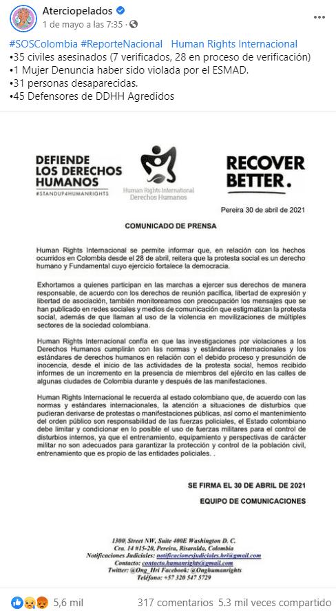 aterciopelados human rights internacional colombia