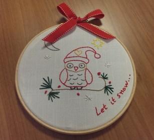Owl embroidery hoop
