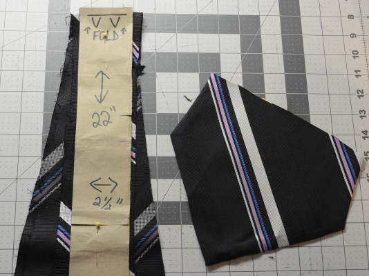 pinning the tie material to the pattern