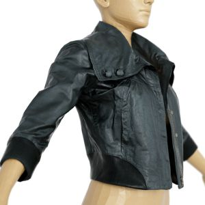Vintage Jacket Black Shiny Collar