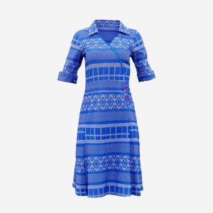 Blue Knit Pattern Dress