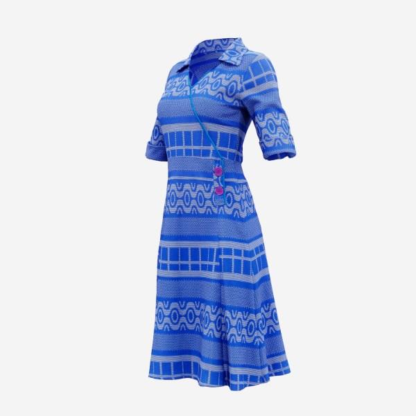 Blue Knit Pattern Dress