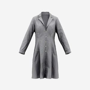 Grey Pattern Dress Buttoned