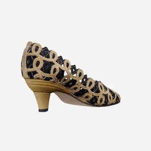 Curly Dancing Shoes Black and Gold Pumps