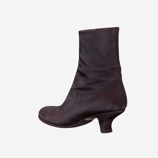 Dark Brown Leather Zipper Boots