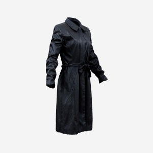 Long Black Leather Underworld Coat Closed