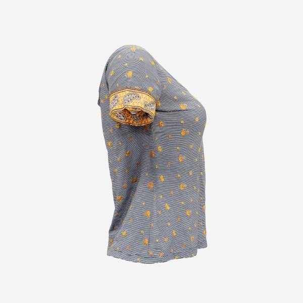 Decorated Open Neck Flower Top Shirt