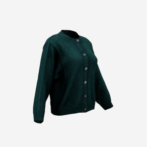 Green Button Cardigan Pull Top
