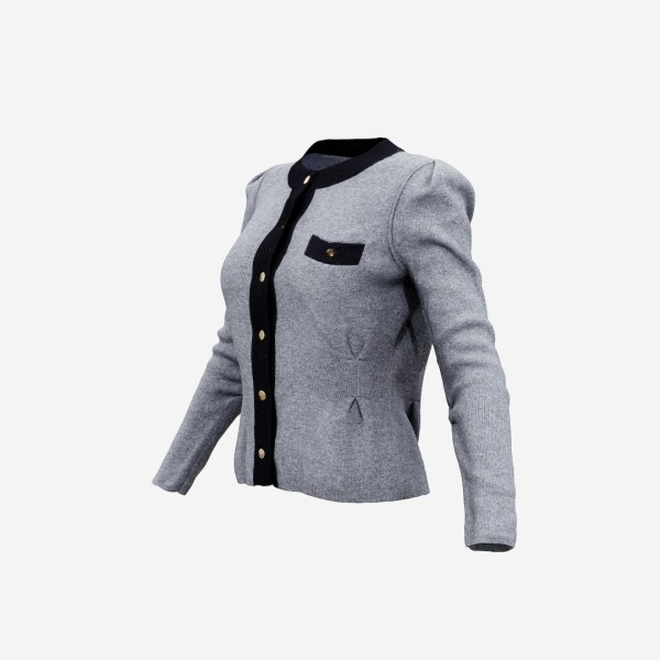 Grey Chest Pocket Top Pull