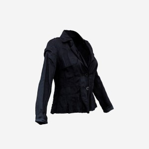 Shoulder Button Dark Blue Jacket Shirt Top